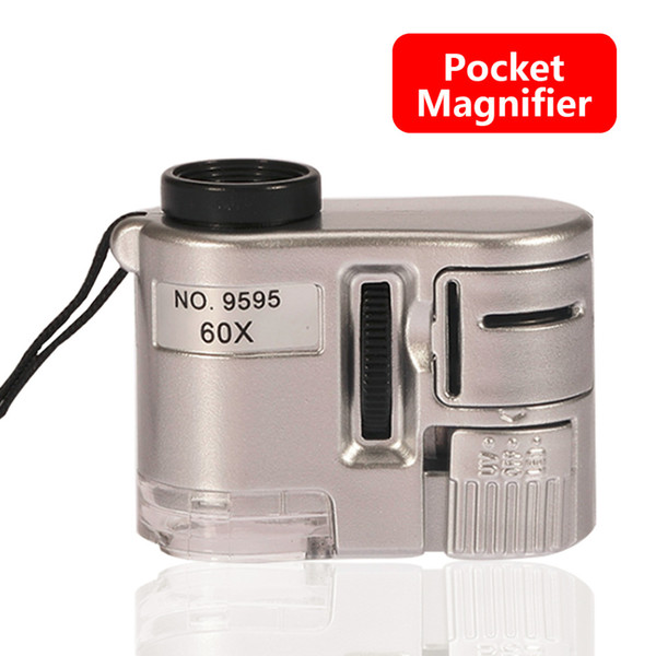 1pcs Brand New Mini Lens 60X Pocket Magnifier Microscope With LED Light Jewelry Jeweler Loupe Currency Dectector