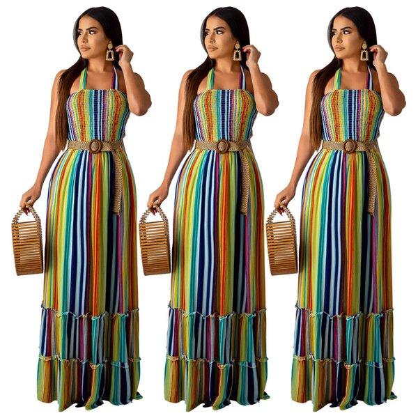 2019 kadın yaz elbise renkli çizgili baskı halter boyun kolsuz pileli maxi elbise plaj bohem uzun elbiseler vestidos