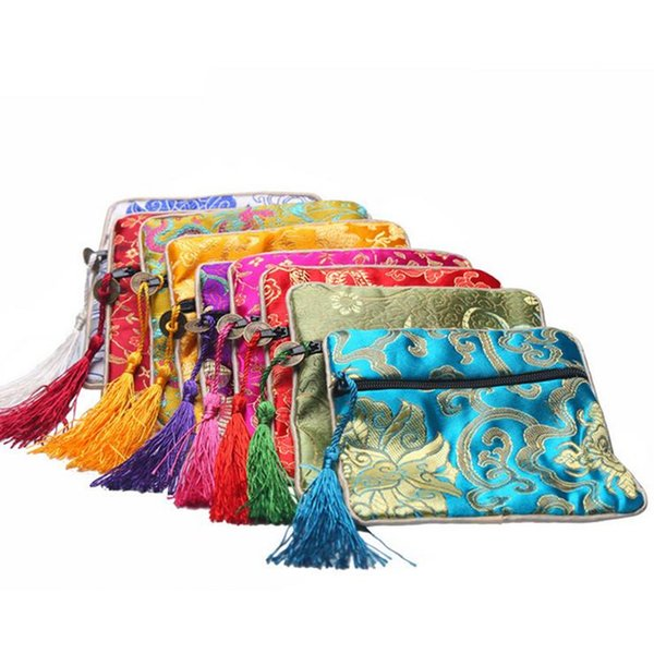 Free shipping Jewelry Bags Chinese Vintage Embroidered Silk Jewelry Rolls Pouch Gift Bags storage bag Mixed Colors F2017164