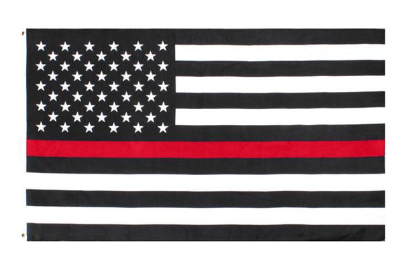 direkter Fabrikgroßverkauf des freien Verschiffens 3 durch 5 ft Polyester Vereinigte Staaten des amerikanischen Feuerwehrmannes dünne rote Linie Flagge
