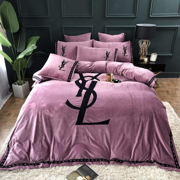 Wholesale- Satin Jacquard velvet Winter Thick Duvet cover sets Queen King size 4pcs Warm Bedding set bedclothes Bedsheet/Bed linen 111