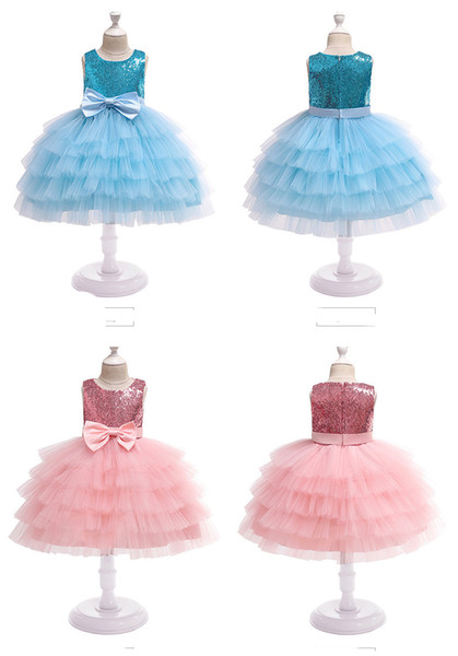 Girls' Wedding Dresses Flower Girl Princess Skirts sequined children cake layers ball gown children boutiques clothes for halloween X'mas