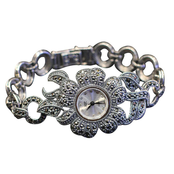 Hot Sale Women Flower Style Pave Marcasite 925 Sterling Silver Wrist Watches eal Silver Bracelet Watches Real Bangle