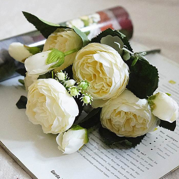 5PCS/Set Gift Decoration Home Simulation Desktop Wedding Decoration Artificial Flower Handmade Anniversary Beautiful Fake Rose