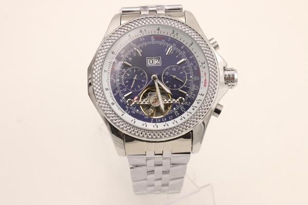Good man Automatic Mechanical 1884 Date Watch Correa de acero inoxidable esfera azul reloj de 46mm