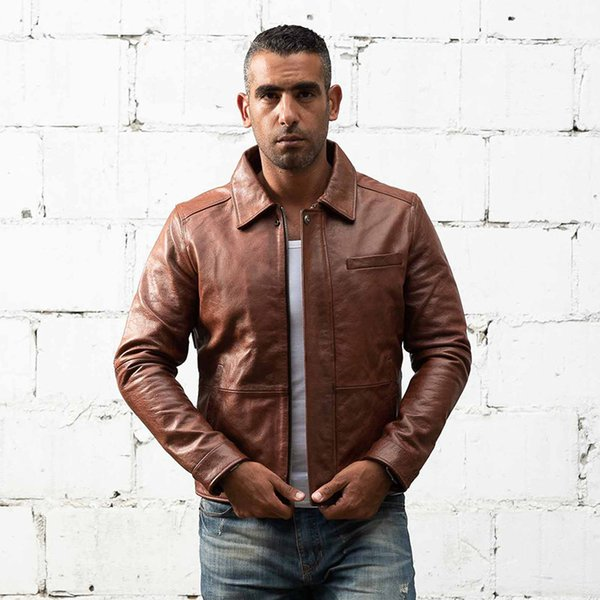 brown AVIREXFLY men flight suits genuine leather jackets with ykk zipper yellow lapel neck men motorcycle leather jacket