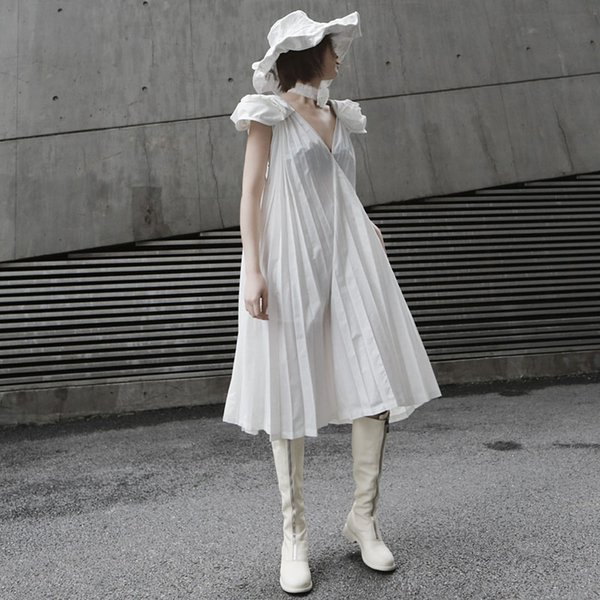 2019 Summer Women Solid White Pleated Sleeveless Dress Midi Backless Plus Size Ladies Celebrity Sexy Party Maxi Dress Robe F338