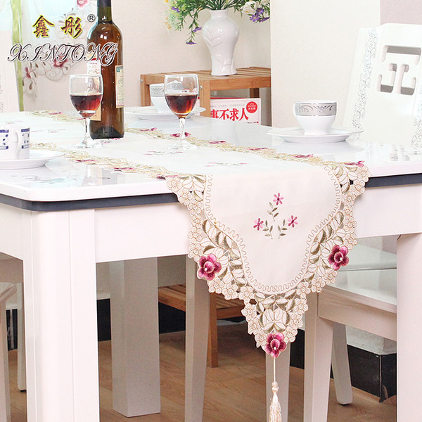 Europe embroidered table runner flag table cover cup mat 1018 rose flower TV cabinet cloth wedding home textile
