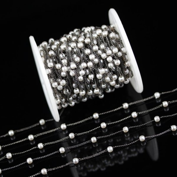5 Meters,Gun Black Plated Copper Links Fashion Chains,White Pearl Round Shape Beads Jewelry Crafts,4mm