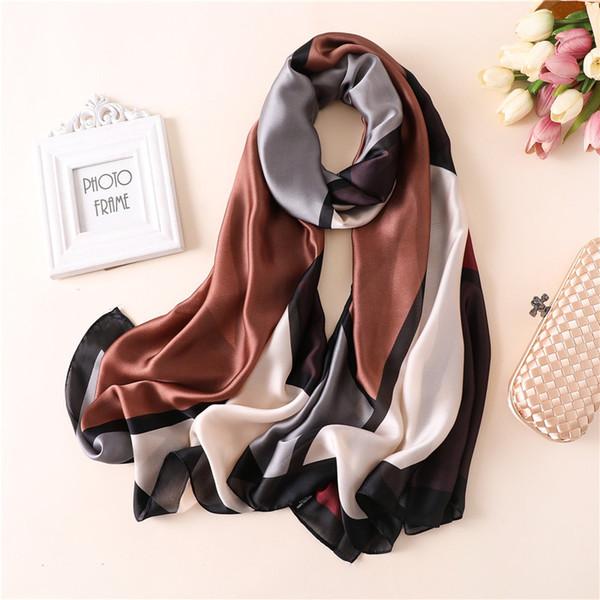 2019 Silk Scarf Women Fashion Spring Multicolor Patchwork Printing Foulard Female Shawls&Wraps Beach Towel Soft Scarves Kerchief 180*90cm