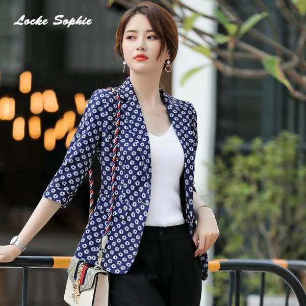 1pcs Womens Slim fit Blazers coats 2019 Summer cotton blend Prints Small Suits jackets ladies Skinny office Blazers Suits coats