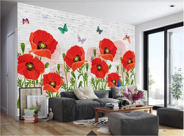 Fototapete des Raumes 3d kundenspezifisches nordisches Artschöner Blumenschmetterling weißes Wandhintergrund-Wanddekorationtapete für Wände 3 d