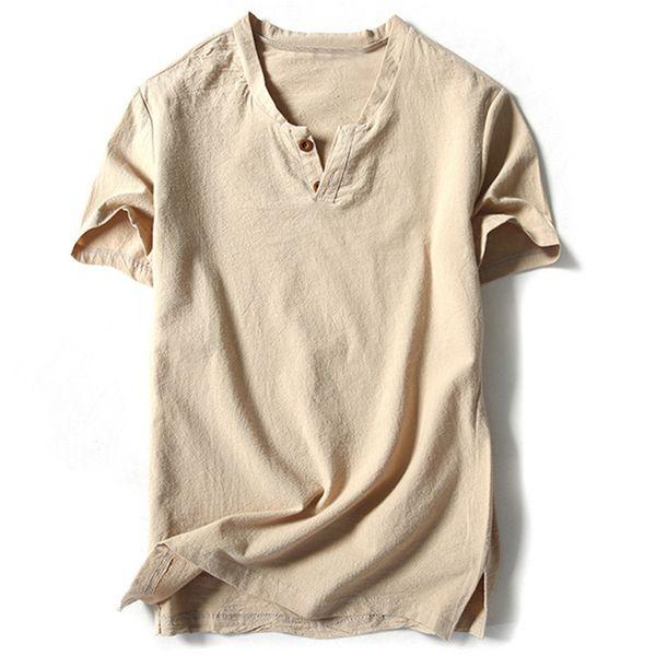 Marca Camisas para hombre con manga corta de algodón Lino Camisas casuales Hombre Camiseta blanca Masculina Tops Harajuku Ropa de hombre sólido