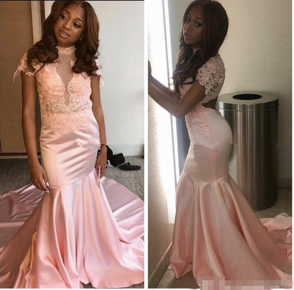New Elegant Pink Mermaid Evening Dresses Long Lace Cut Out Back High Neck With Short Sleeve Prom Party Gowns