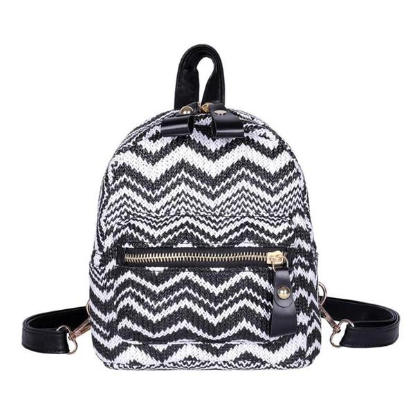 Ethnic Weaving Women Backpack Travel School Knitting Knapsack Fashion Small Backpack
