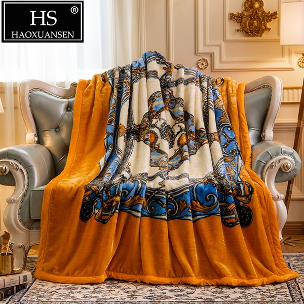 2.7 Kg Orange Double Layer Cloudy Blanket Super Soft Sofa Throw Blankets Four Seasons Adult Warm Queen Size Bed Cover Bedspread