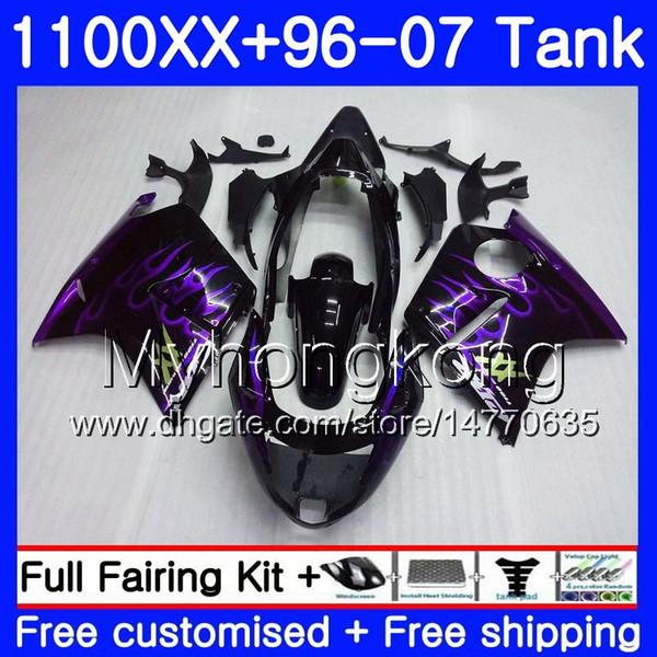 +Tank For HONDA Blackbird CBR 1100XX CBR1100 XX 02 03 04 05 06 07 271HM.47 CBR1100XX Purple flames 2002 2003 2004 2005 2006 2007 Fairings