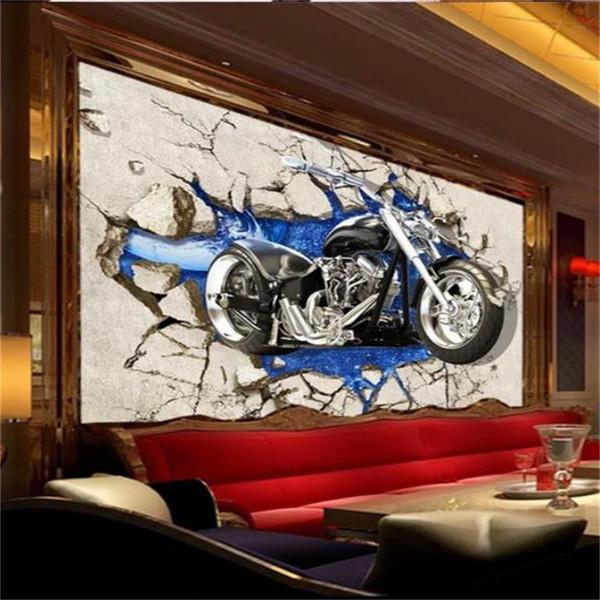 Custom 3d Room Photo Wallpaper Mural Motorcycle Broken Wall Picture Mural Modern Art Creative Living Room Hotel Study Backdrop Wallpaper High Quality