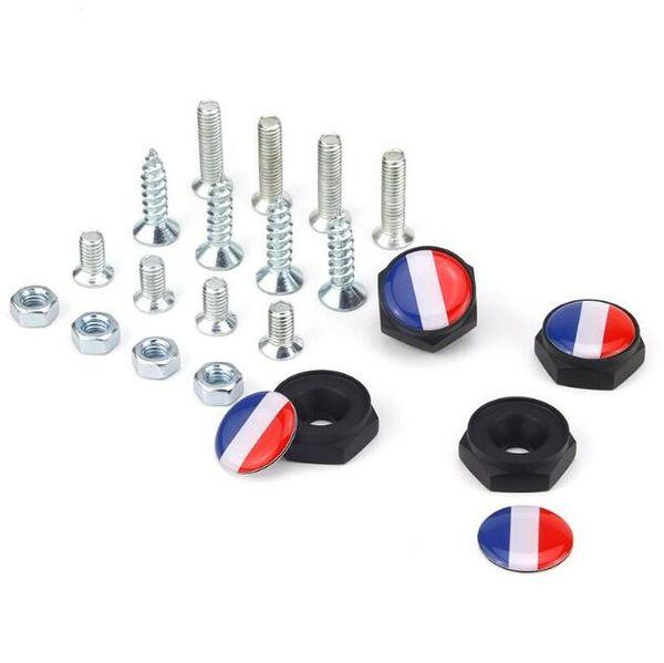 France flag Union Jack UK flag Black color Auto Aluminum alloy Anti-theft Car License Plate Bolts Frame Screws Badge Emblem