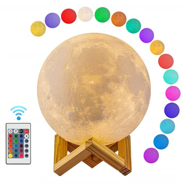 Moon Light 3D Print Globe Lamp 3D Glowing Moon Lamp With Stand Luna Moon Lamp Night Light for Home Bedroom Decor Kids