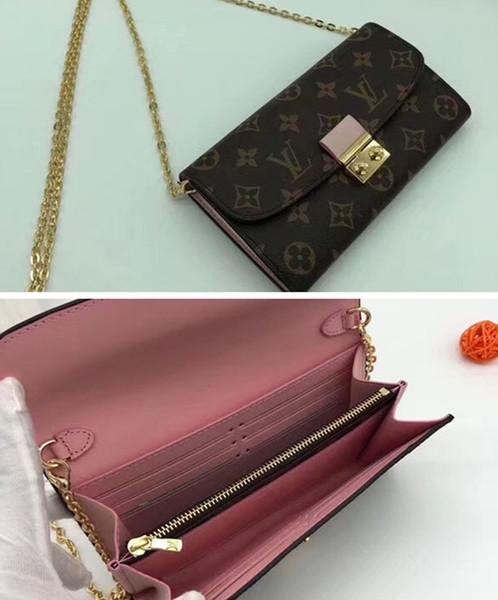 # 5831 Croisette Wallet Luxury 5A + Plaid Wallet Para Mujeres Diseñador Desfiles de moda Bolsos de cuero exóticos Embragues Monederos de noche Monedero