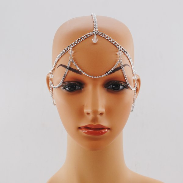 kadınlar için yeni varış Altın Renkli Şeffaf Kristal Kafa Saç Aksesuarları Baş Takı metal Forehead Saç Zincir baş