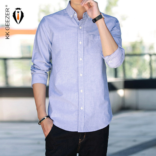 Men Shirt Cotton 100% Mens Oxford Casual Shirts Autumn Long Sleeve Slim Fit Male Tuxedo Dress Shirt Plus Size M-5xl Dropshipping Y190416