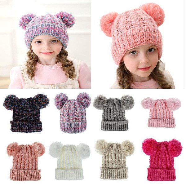 top popular Free DHL 12 Colors Kid Knit Crochet Beanies Hat MOK Girls Soft Double Balls Winter Warm Outdoor Baby Pompom Ski Caps 2019