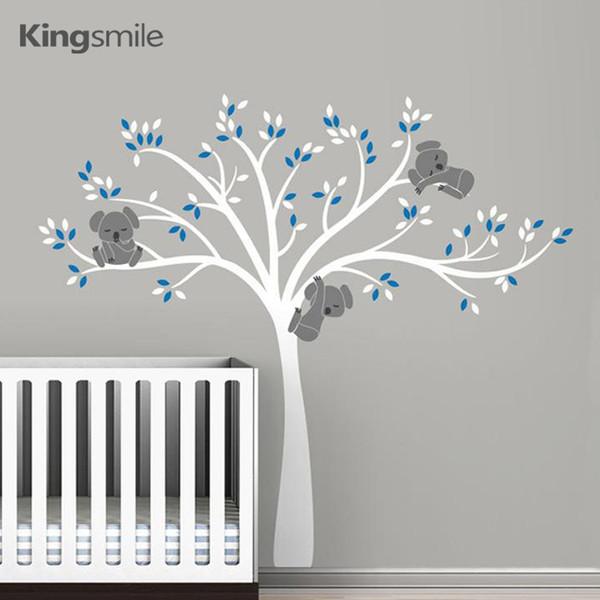 Koala Family on White Tree Branch Vinili Adesivi murali Nursery Decals Art Smontabile Murale Baby Camera dei bambini Sticker Home Decor