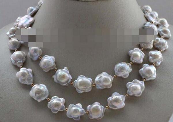 "FREE SHIPPIN + + + 35"" Genuine Natural 16mm White Flower Reborn keshi Pearl Necklace"