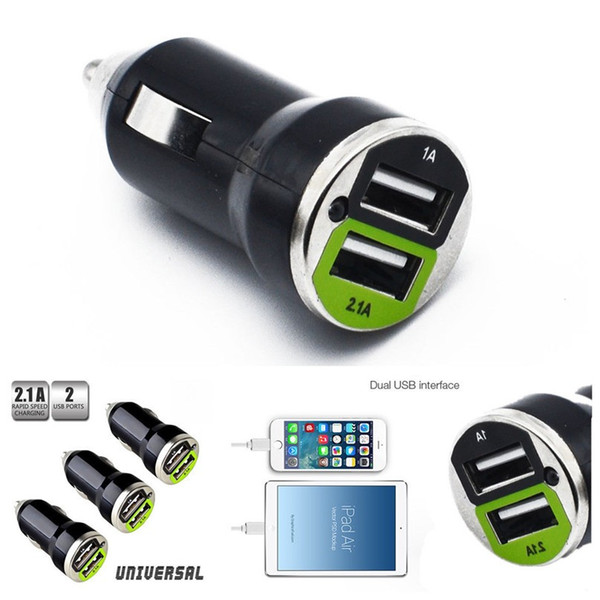 200pcs 2.1A Bullet Double USB 2 Ports Double Double USB Mini chargeur de voiture adaptateur pour iphone 6 6 s plus / ipad / ipod samsung