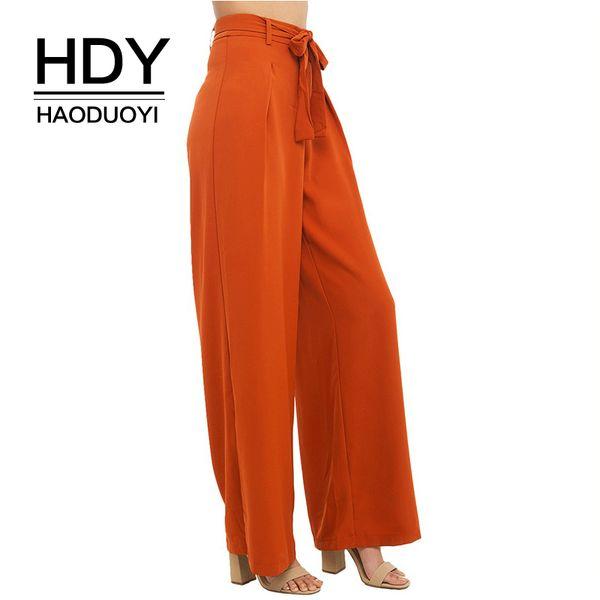 Hdy Haoduoyi Women Orange Wide Leg Chiffon Pants High Waist Tie Front Trousers Palazzo Ol Elegant Pants Long Culottes Pants Q190510