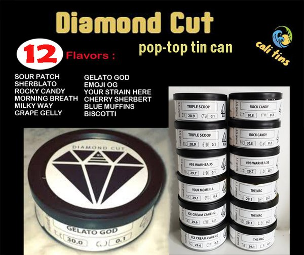 12 Flavors Diamond Cut EXOTIC Tin Can Cali Pressitin 65 5*27mm Clear Peel  Off Lid Black Cover Smell Proof Tin Can Tattoo Coil Winder Vape Coil Maker