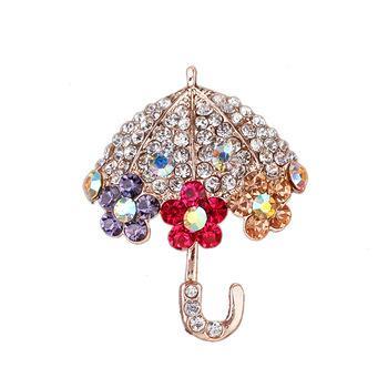 Fashion multicolour Umbrella Broach flower Brooch Diamante Rhinestone Crystal lapel Pin Party Wedding