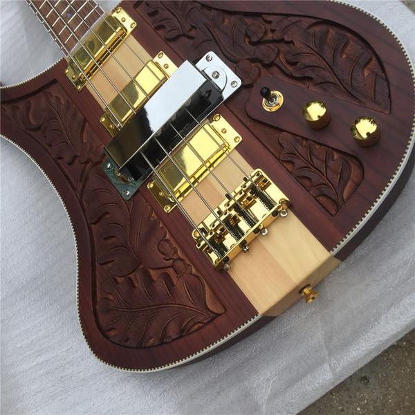 Frete grátis New Arrival Walnut LK 4004 bass guitar; ponte Original Wilkinson; sintonizadores Wilkinson; eletrônicos coreano