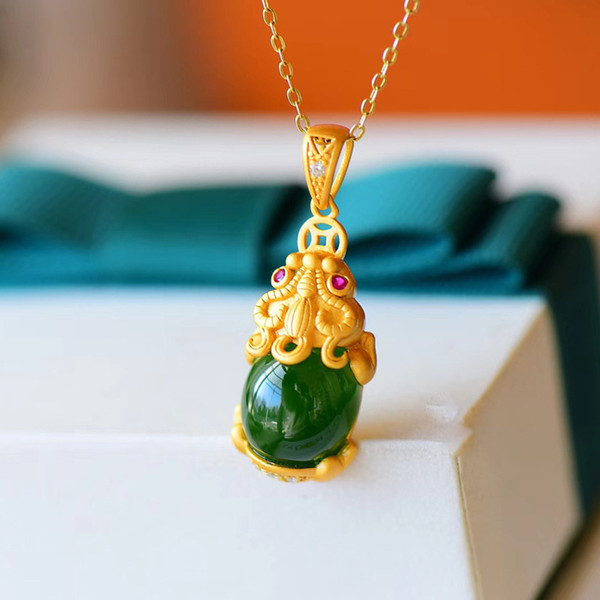 top popular Chalcedony Dragon Pendant Necklace Charm Jewelry Hetian Jade Agate 925 Silver Natural Carved Amulet Gifts for Her Women Green 2021