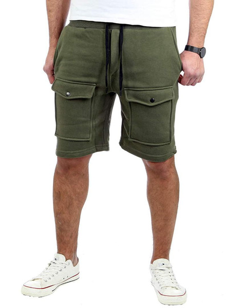 2019 homens grande bolso verão esportes slim fit shorts casuais masculinos correndo basculadores bottoms mid cintura shorts