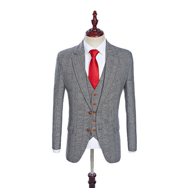 Wool Grey Tweed Men Custom Made mens 3 piece suit tailor made slim fit suits for men Blazer(Jacket+Pants+Vest)