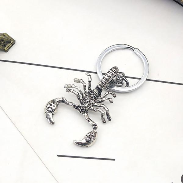Moda Criativa Retro Escorpião Prata Rei Forma Chaveiro Personalizado Dos Homens Do Punk Animal Pingente Chaveiro Chrismas Presente