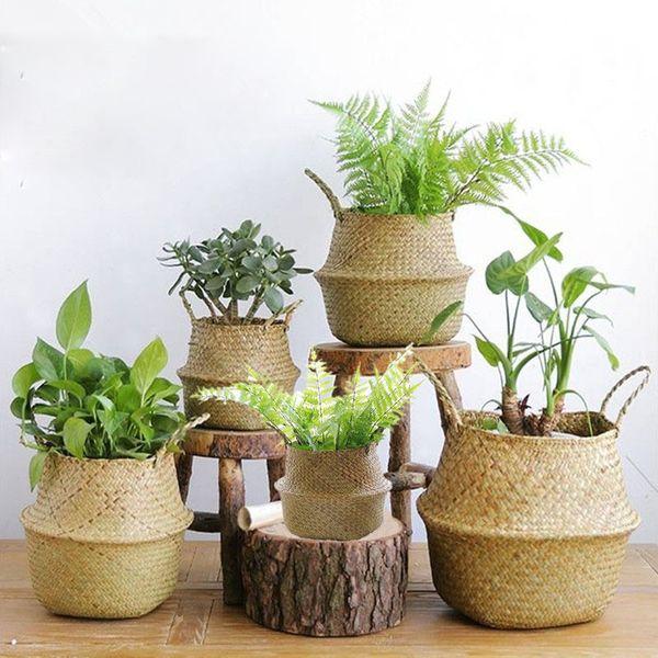 El yapımı Bambu Saklama Sepetleri Dayanıklı Sepet Katlanabilir Straw Patchwork Hasır Rattan Seagrass Göbek Bahçe Saksı Sıcak Satış 20yx2 BB