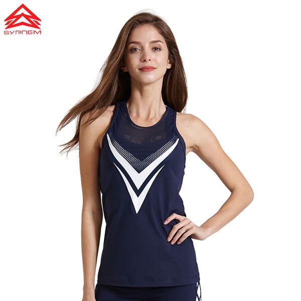Syprem Women Running Vest Professional Quick-drying Fitness Tank Sport Top Active Workout Yoga T-shirt Gym Jogging Vest,1ft1068 Q190428