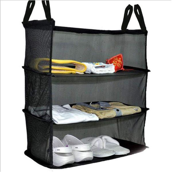Amazon Hot Hanging Laundry bag 3 Laryer Black Polyster toy organizer door hangging bags Foldable shoe racks
