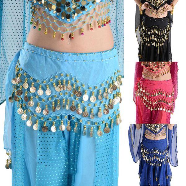 Femmes en mousseline de soie Belly Dance Hip Scarf Coin Sequin Ceinture taille Ceinture chaîne jupe bijoux déclaration parfaite pour la plage du club de partie