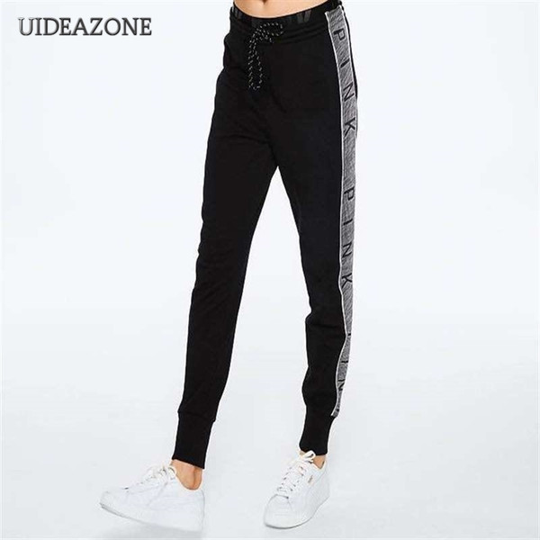 Pink Women Pants Letter Print Workout Female Slim Fitness Legging Sporting Adventure Time Trousers Dropship S-2XL Y190603