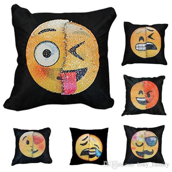 40 * 40 cm BeddingOutlet Emoji DIY Paillettes Throw Chair Taie D'oreiller Main Carrée Coulissante Changer Visage Oreiller Voitures Chambre Siège