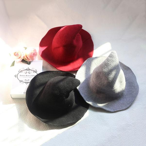 1 шт. Современная шляпа ведьмы хэллоуин шерстяные женщины леди из модной овечьей шерсти шляпа хэллоуин ну вечеринку