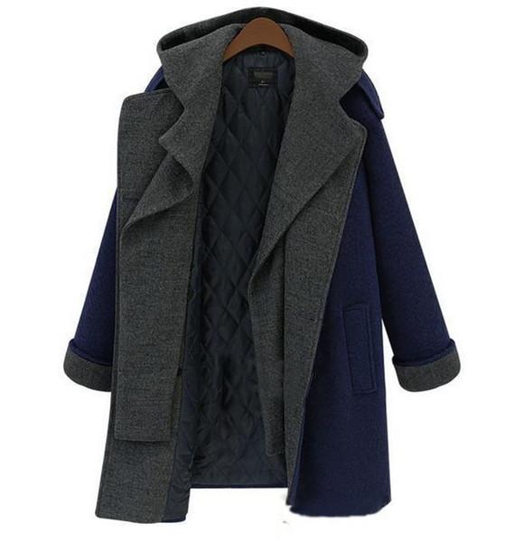 Nice Korean Double-breasted Woolen Coat Turndown Neck Hooded Winter Jackets Woolen Blends Thicker Warm Coat