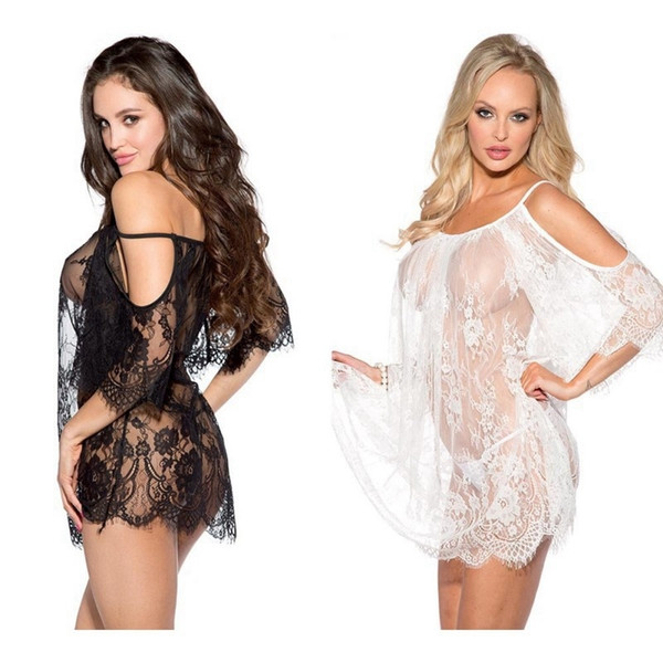 Women Lace Nightgowns Sexy Black And White Lingerie Full Slips Leakage Shoulder Nightdress Translucent Sexy Sleepwear