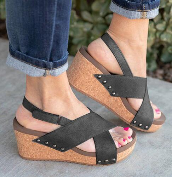 Women Sandals 2019 Summer Sandals For Women Wedges Shoes 8cm High Heels Sandalias Mujer Peep Toe Platform Sandals Shoes Woman