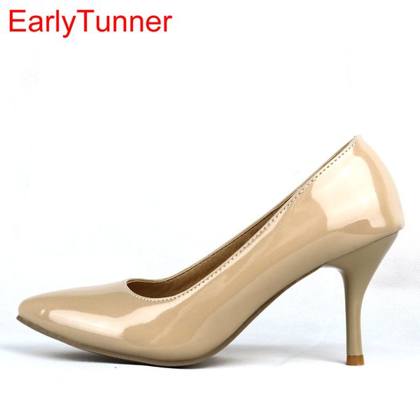 Designer Dress Shoes Brand New Sexy Black Naked Red High Heels Women Nude Glossy Pumps Ladies Formal Work EA3 Plus Big Size 43 12 30 47